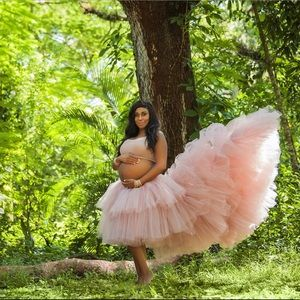 Blush Pink Tulle Tiered Skirt with Train Maternity